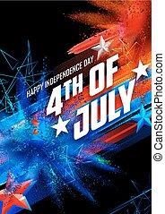jour indépendance, quatrième, juillet, heureux, fond, amérique