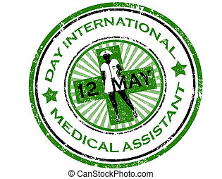 jour, international, monde médical, aide, timbre