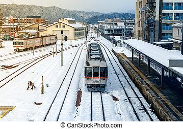 jour, japon, takayama, ferroviaire, neige, station, train