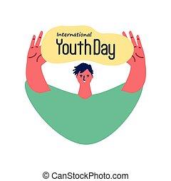 jour, jeunesse, international, homme, célébrer