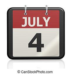 jour, juillet, calander, indépendance, 4