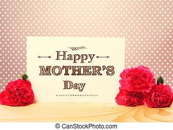 jour, oeillet, mères, message, fleurs, carte, rose