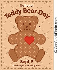 jour, ours, cadre, édredon, teddy