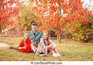 jour, papa, gosses, famille, parc, beau, automne