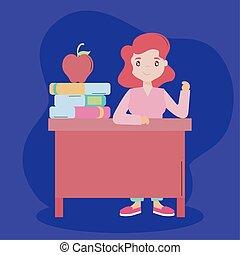 jour, prof, séance, bureau, elle