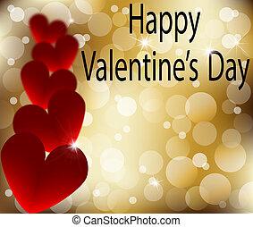 jour, résumé, heureux, or, valentines