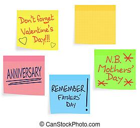 jour, rappel, enfante jour, -, pères, notes, valentin