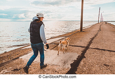 jour, retriever, labrador, remblai, chaque, ton, chien, long, evening., fitness, course, girl, promenade