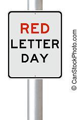 jour, rouges, lettre