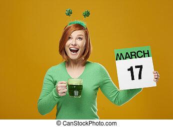 jour, saint, crier, girl, irlandais, célébrer, patrick's