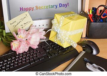 jour, secrétaire, écran