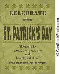 jour st patrick, fête, invitation