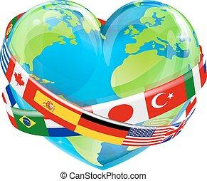 jour terre, coeur, à, drapeaux