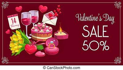 jour, valentin, cœurs, bannière, fleurs, vente