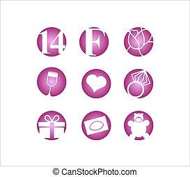 jour, valentin, icône, ensemble, s