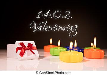 jour valentine, cadeau, et, brûlé, bougies