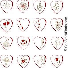 jour, valentine, mettez stylique, ton, cœurs