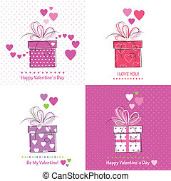 jour, valentines, collection, cartes