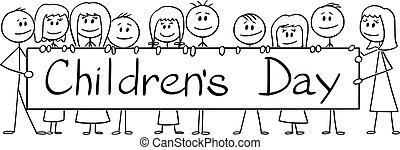 jour, vecteur, grand, dessin animé, texte, illustration, tenue, enfants, signe, enfants, groupe