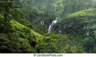 jour, vidéo, beau, pluvieux, 4k, chute eau, vallée, montagne