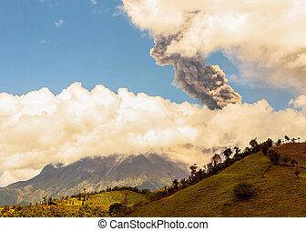 jour, violent, tungurahua, explosion, volcan