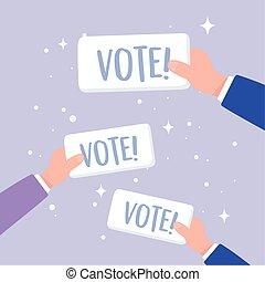 jour, vote, vote, mains, élection, campagne