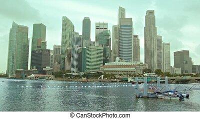 jour, vue, gratte-ciel, nuageux, singapour