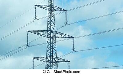 journée, tour, transmission, lignes, puissance