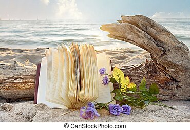 journal and roses on beach