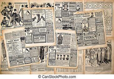 journal, antiquité, pages, publicité