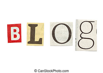 journal, coupure, lettres, blog