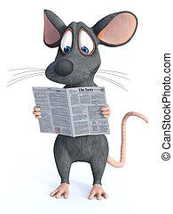 journal., dessin animé, souris, lecture, 3d, rendre