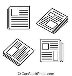 journal, ensemble, icônes