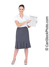 journal, femme affaires, heureux, tenue, chic