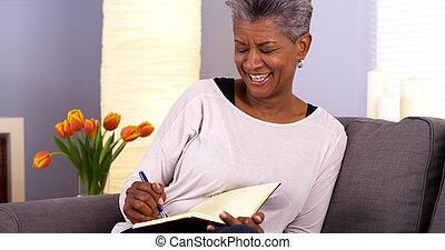 journal, femme, noir, mûrir, écriture