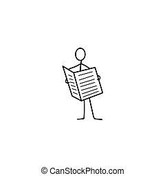 journal, homme, figure bâton, ou