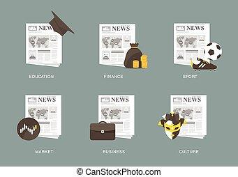journal, icône, ensemble