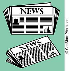 journal, icône, vecteur