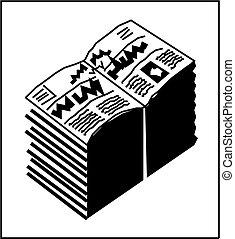 journal, icon., vecteur