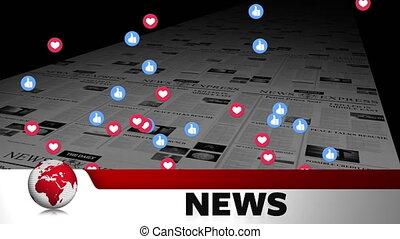 journal, interface, média, social, nouvelles, impression, ...