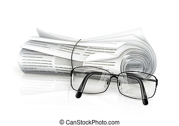 journal, lunettes