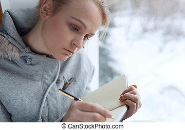 journal., meisje, jonge, haar, schrijvende