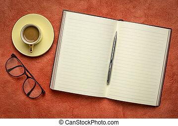 journal, ou, café, vide, cahier