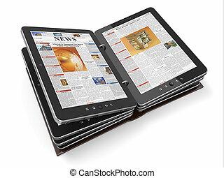 journal, pc, magazine, ou, tablette
