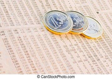journal, pièces, financier, euro