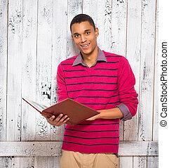 journal, registre, studio, beau, ou, homme