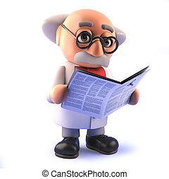 journal, scientifique, prof, dessin animé, fou, lecture, 3d