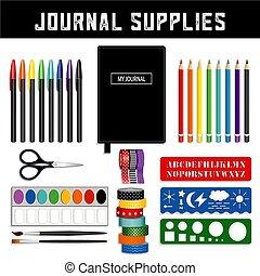 Journal Supplies - Journal supplies, Washi tapes, fine liner...