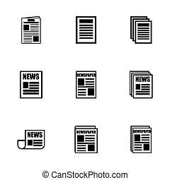 journal, vecteur, ensemble, icône