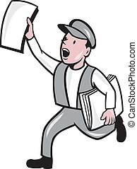 journal, vente, isolé, vendeur journaux, dessin animé